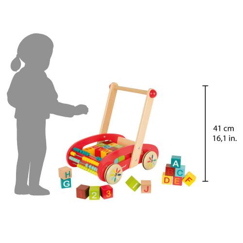 Chariot ABC Buggy Tatoo - 30 cubes en bois, marche, éveil motricité, boulier, pour enfant à partir de 12 mois JANOD