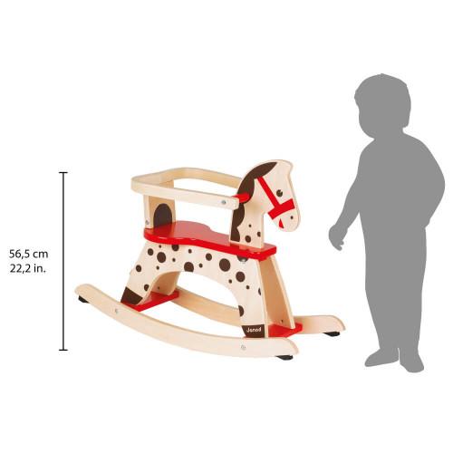 Cheval à Bascule Caramel en bois, éveil motricité enfant à partir de 12 mois JANOD