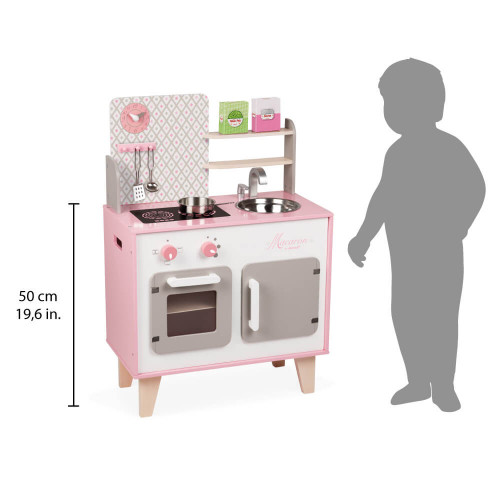Cuisine Macaron en bois rose blanc 5 accessoires pour enfant à partir de 3 ans