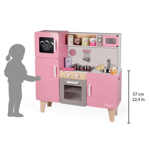Maxi Cuisine Macaron en bois sonore lumineuse rose 15 accessoires enfant à partir de 3 ans
