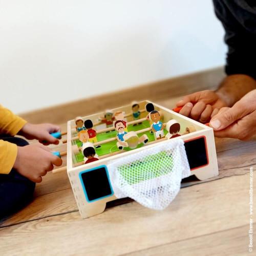Mini Babyfoot Champions en bois, football, babyfoot de table, jeu de société, pour enfant à partir de 3 ans JANOD