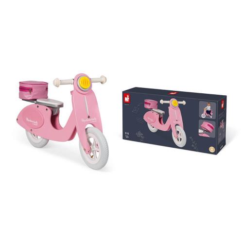 Draisienne Scooter Rose Mademoiselle en bois, vintage, équilibre motricité, pour enfant dès 2 ans JANOD