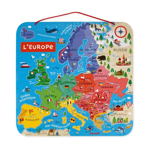 Carte d'Europe Magnétique en bois, puzzle géographie, 40 magnets, enfant à partir de 7 ans JANOD