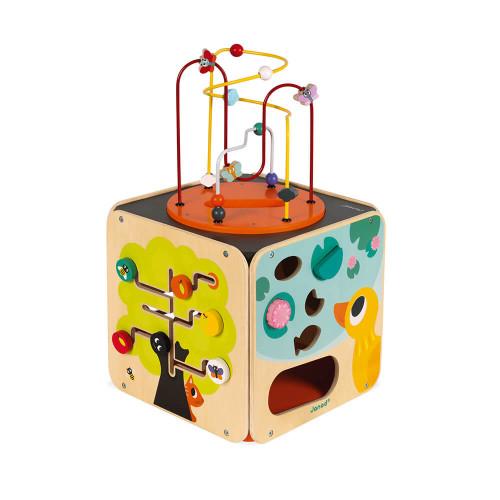 Maxi looping multi-activités en bois cube éveil motricité enfant à partir de 18 mois JANOD