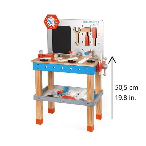 Etabli magnétique géant Brico'Kids réglable en bois 40 accessoires bricolage enfant à partir de 3 ans